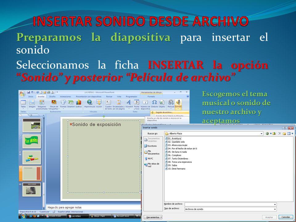 INSERTAR SONIDO DESDE ARCHIVO