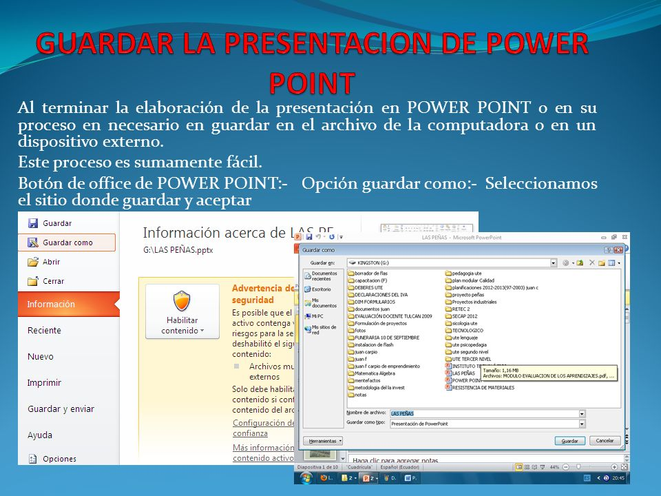 GUARDAR LA PRESENTACION DE POWER POINT