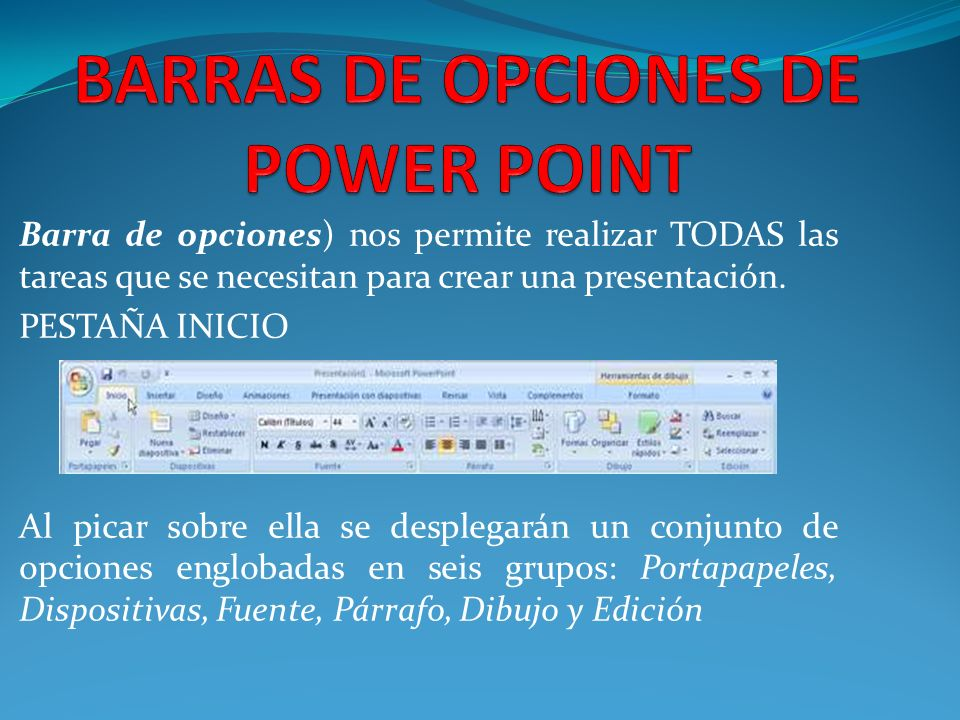 BARRAS DE OPCIONES DE POWER POINT