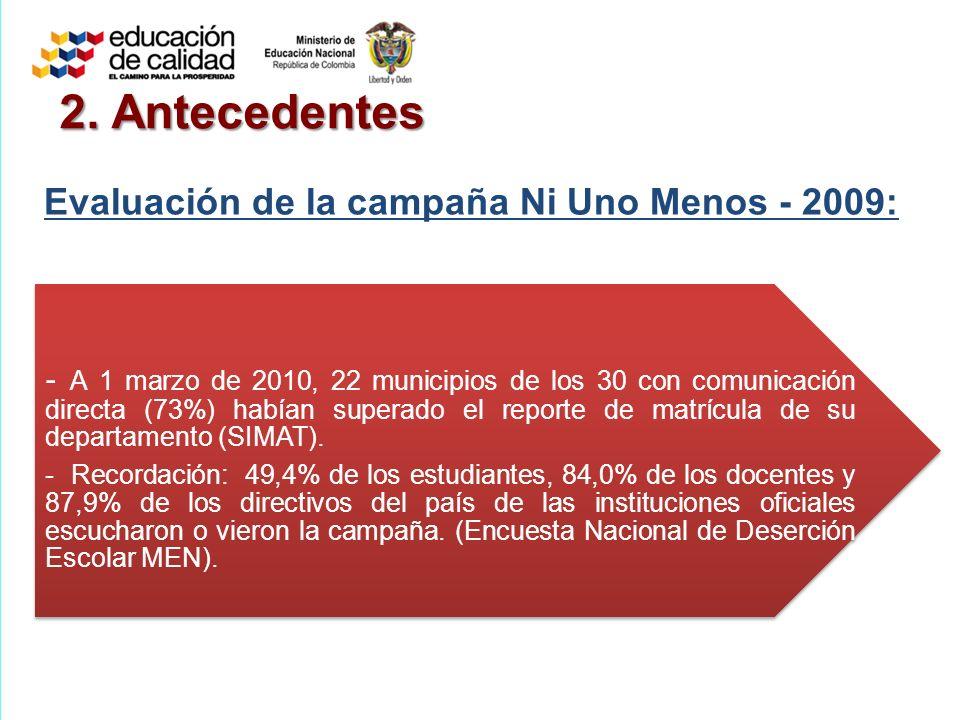 2. Antecedentes Evaluación de la campaña Ni Uno Menos - 2009: