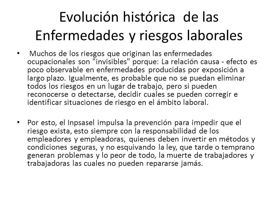 Evolución histórica de las Enfermedades y riesgos laborales