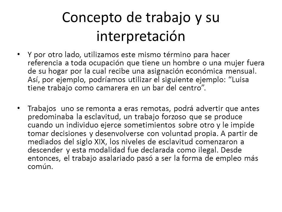 Concepto de trabajo y su interpretación