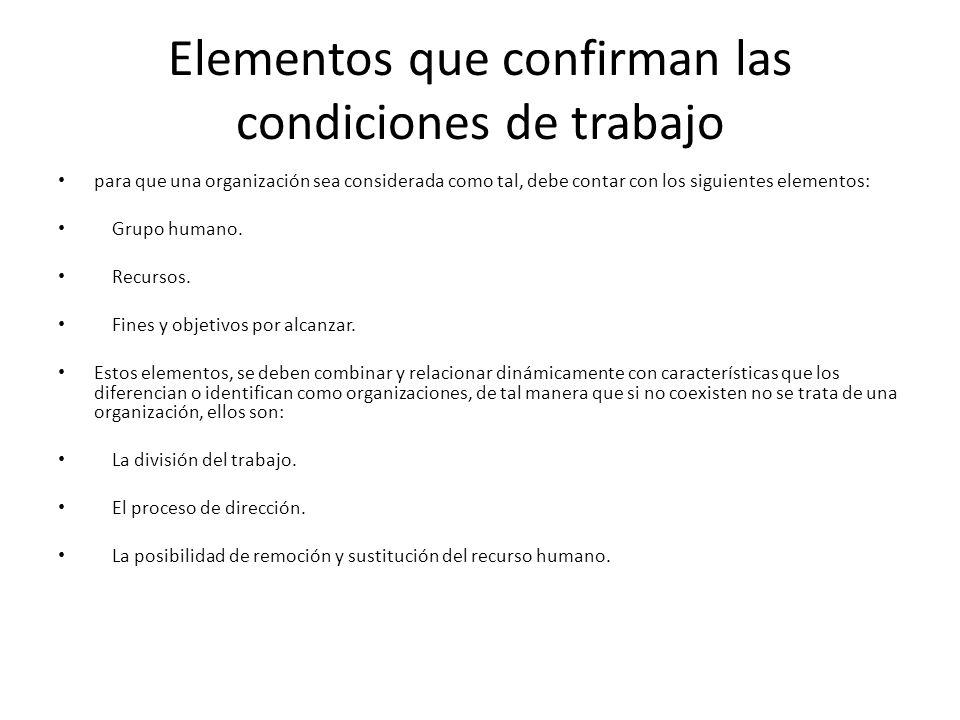 Elementos que confirman las condiciones de trabajo