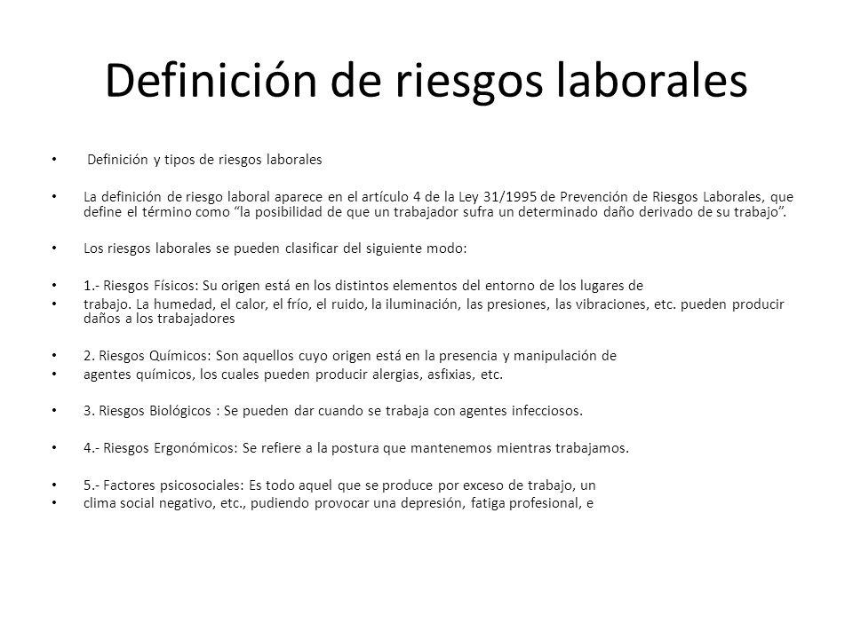 Definición de riesgos laborales