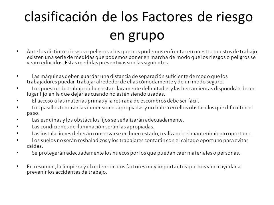 clasificación de los Factores de riesgo en grupo