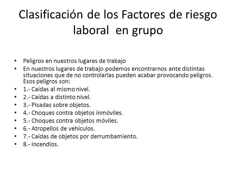 Clasificación de los Factores de riesgo laboral en grupo