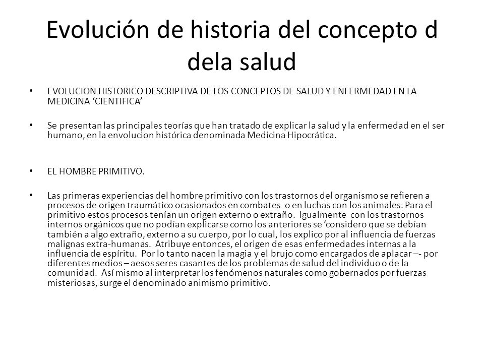 Evolución de historia del concepto d dela salud