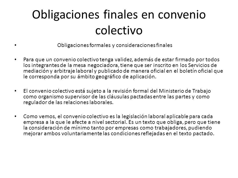 Obligaciones finales en convenio colectivo