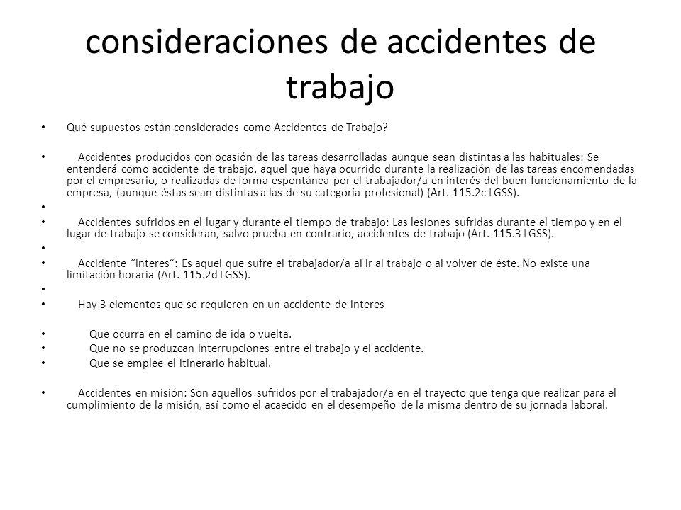 consideraciones de accidentes de trabajo