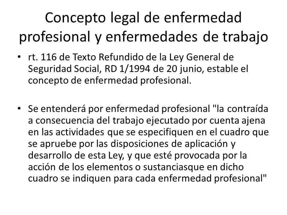 Concepto legal de enfermedad profesional y enfermedades de trabajo