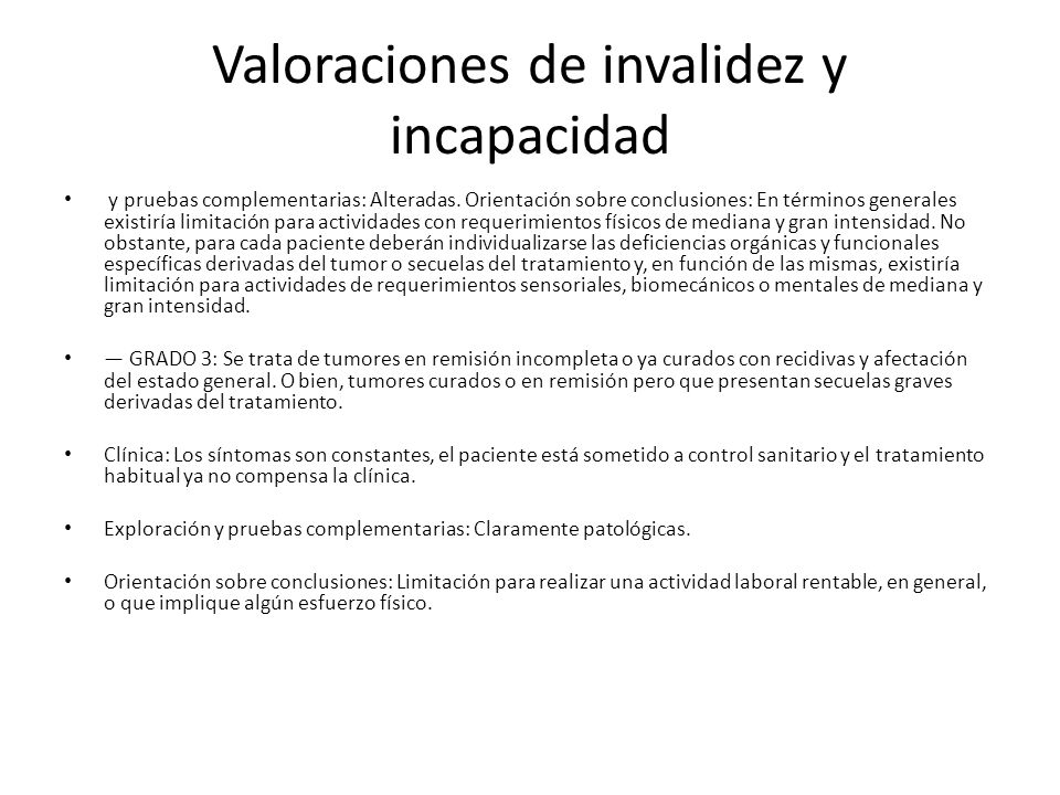 Valoraciones de invalidez y incapacidad