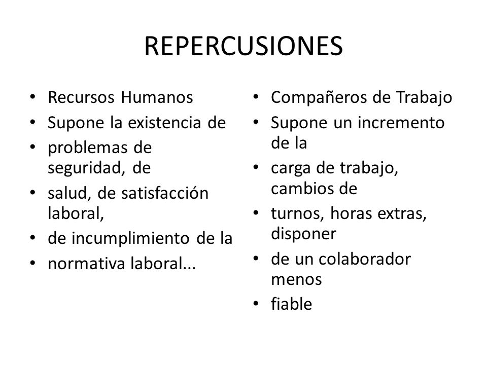 REPERCUSIONES Recursos Humanos Supone la existencia de