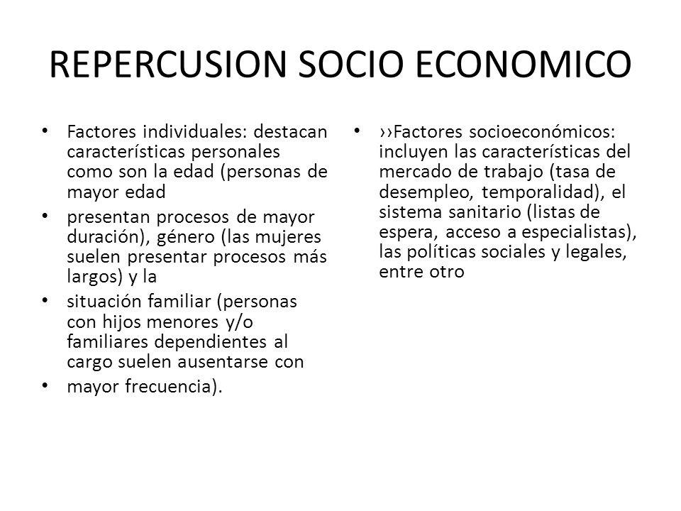 REPERCUSION SOCIO ECONOMICO