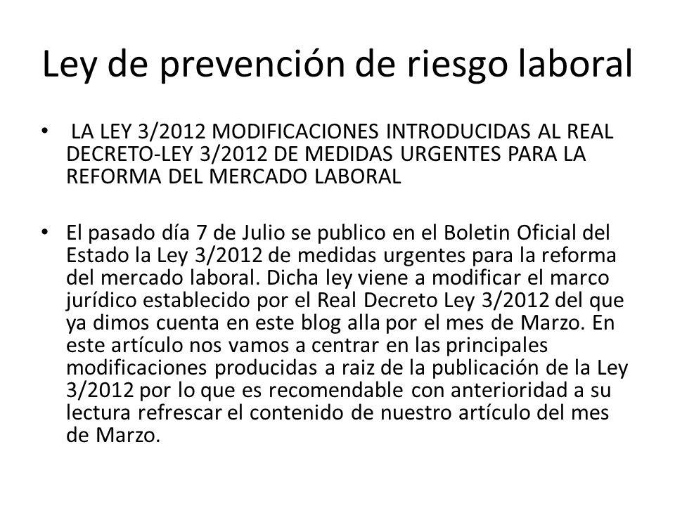 Ley de prevención de riesgo laboral