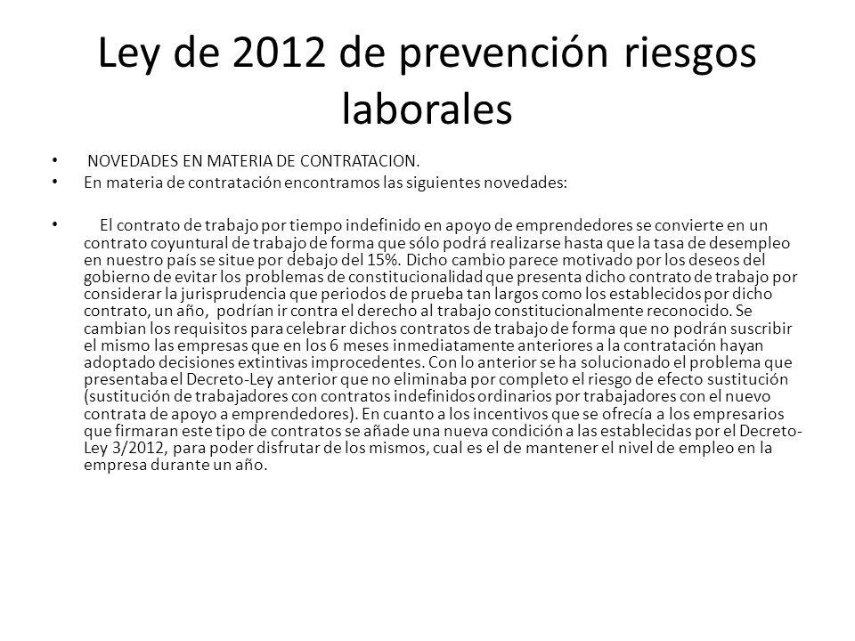 Ley de 2012 de prevención riesgos laborales