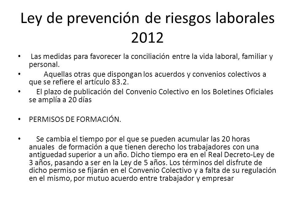 Ley de prevención de riesgos laborales 2012