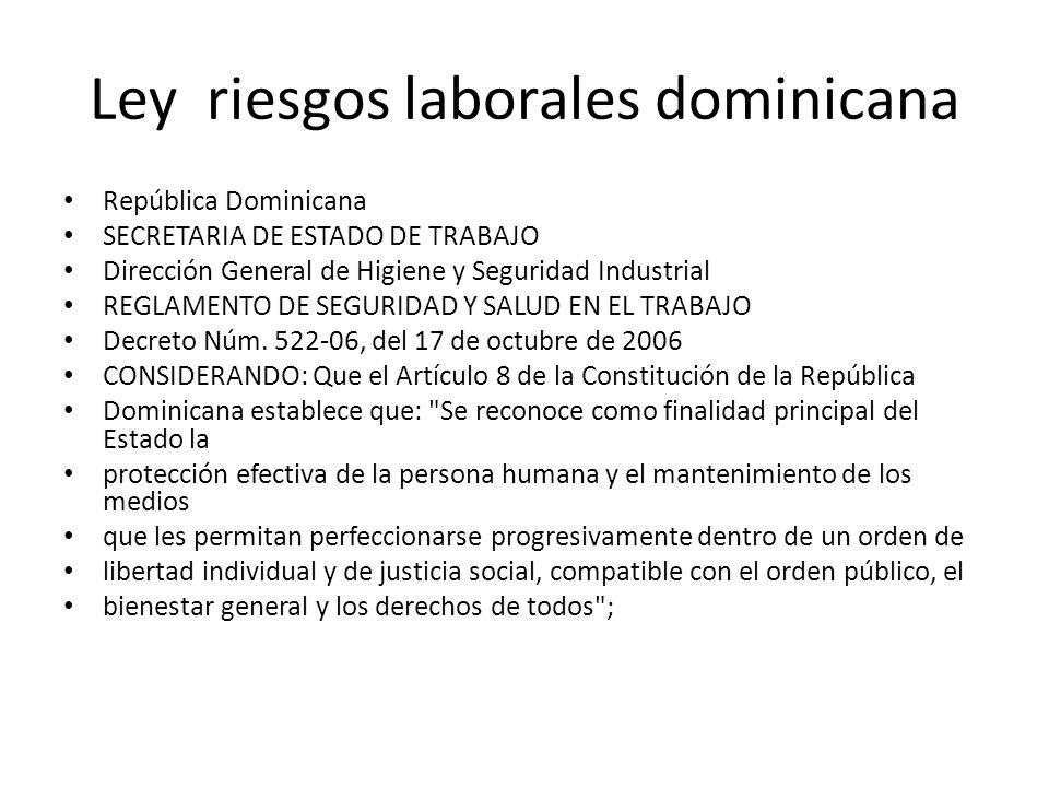 Ley riesgos laborales dominicana