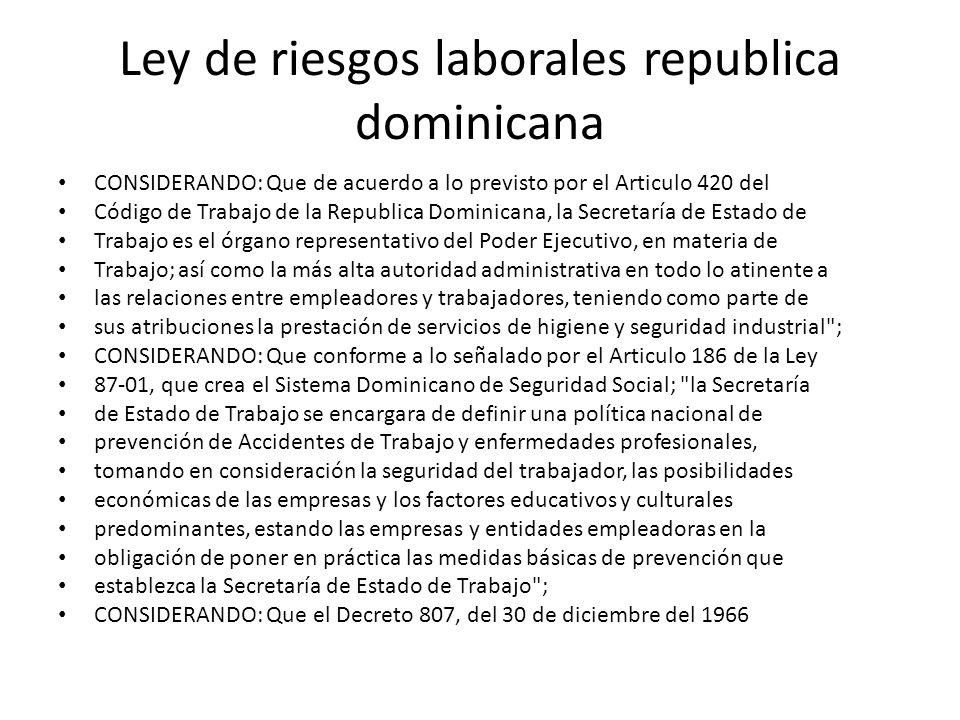 Ley de riesgos laborales republica dominicana