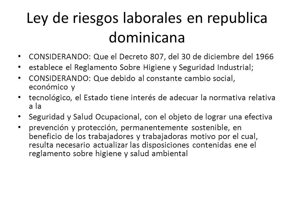 Ley de riesgos laborales en republica dominicana