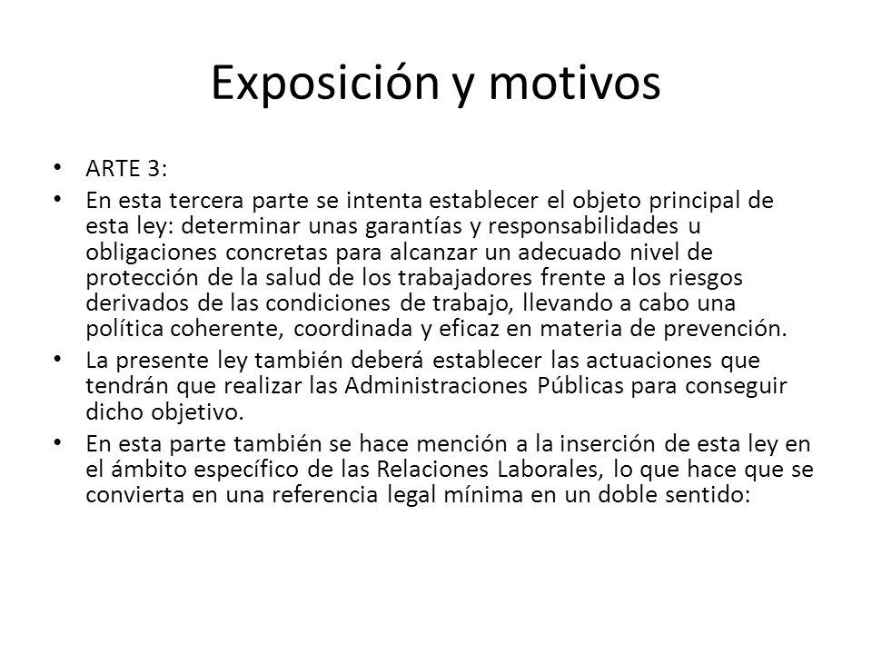 Exposición y motivos ARTE 3: