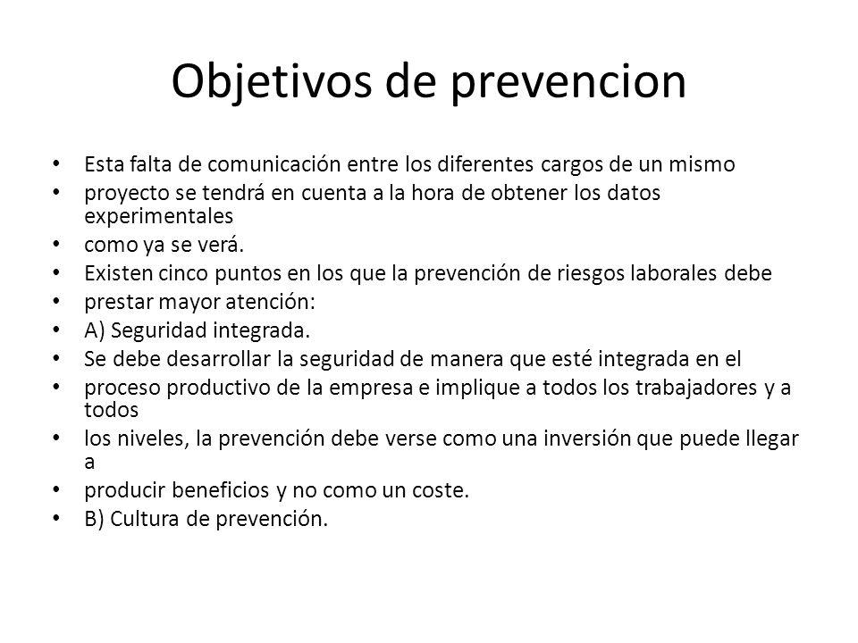 Objetivos de prevencion