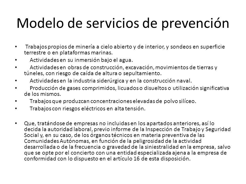 Modelo de servicios de prevención