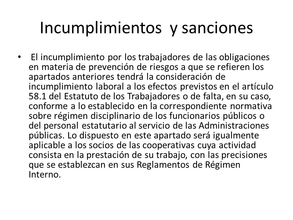 Incumplimientos y sanciones