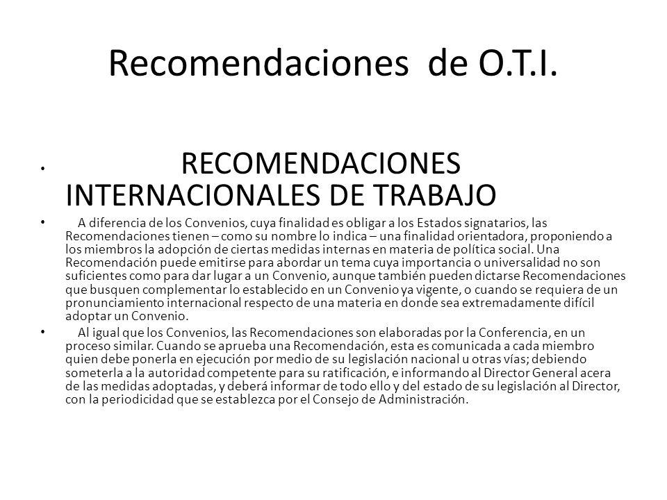 Recomendaciones de O.T.I.