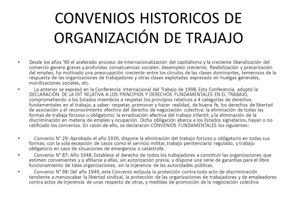 CONVENIOS HISTORICOS DE ORGANIZACIÓN DE TRAJAJO