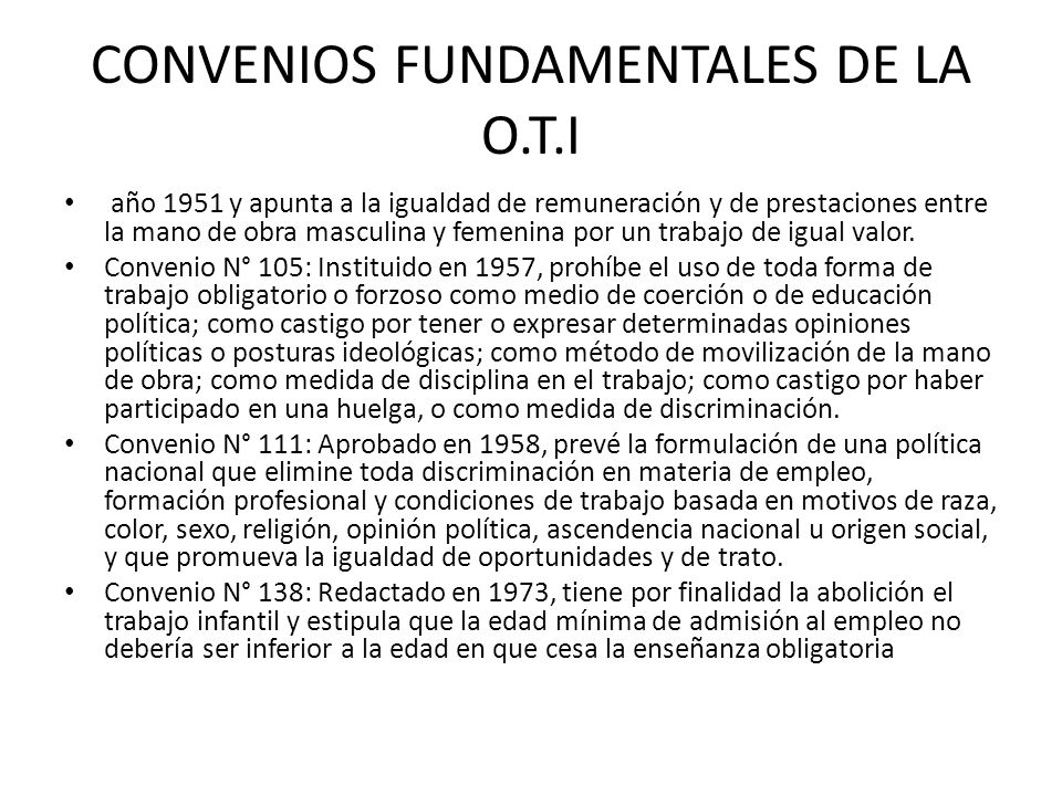 CONVENIOS FUNDAMENTALES DE LA O.T.I