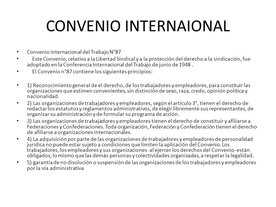 CONVENIO INTERNAIONAL