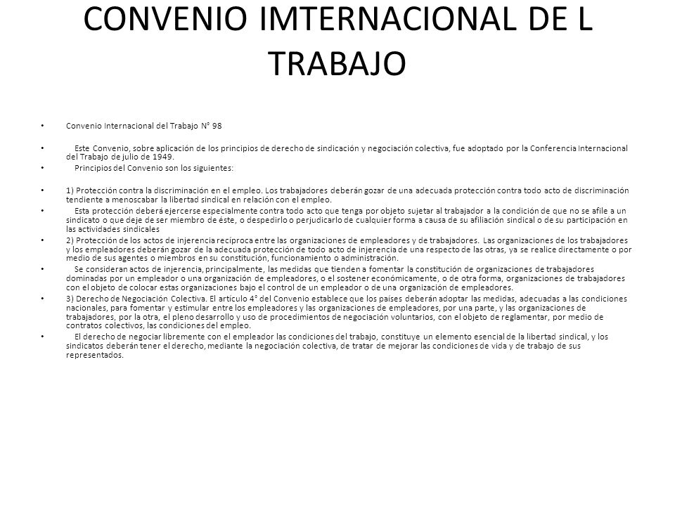 CONVENIO IMTERNACIONAL DE L TRABAJO