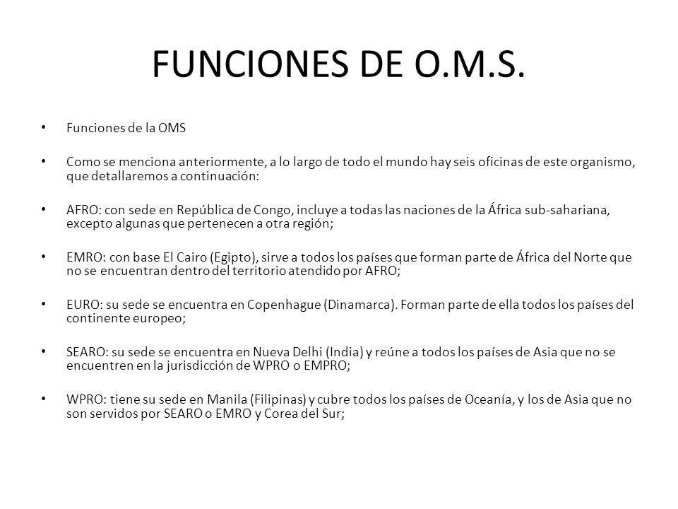 FUNCIONES DE O.M.S. Funciones de la OMS