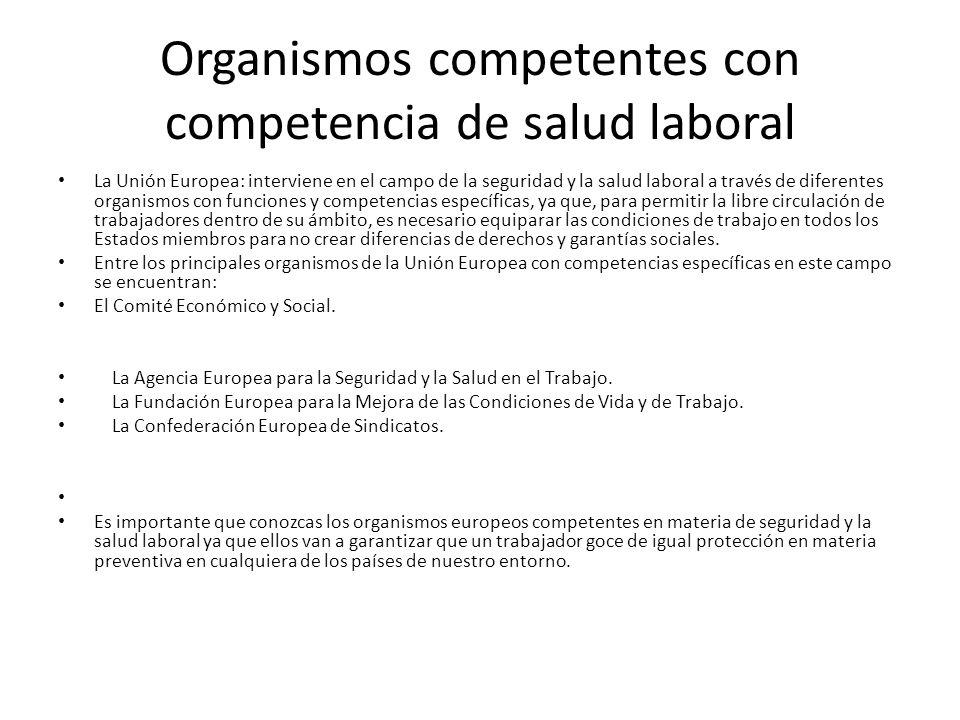 Organismos competentes con competencia de salud laboral