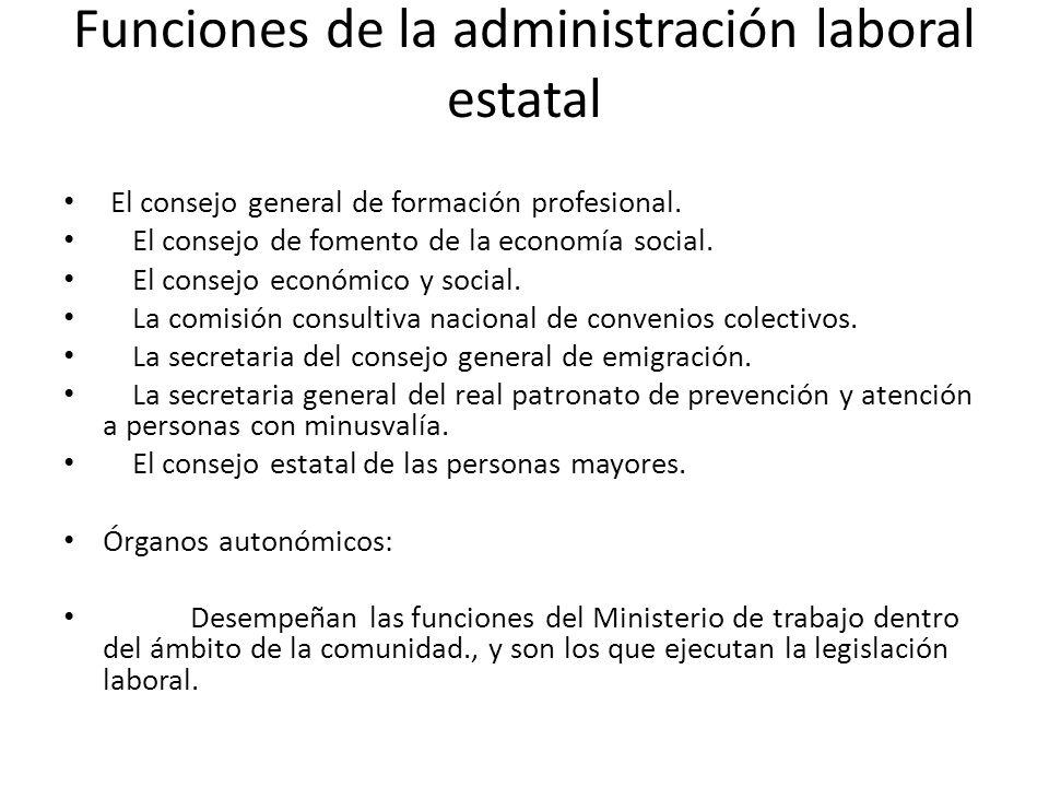 Funciones de la administración laboral estatal