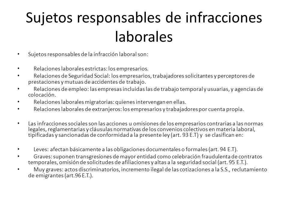 Sujetos responsables de infracciones laborales