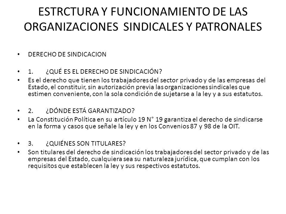 ESTRCTURA Y FUNCIONAMIENTO DE LAS ORGANIZACIONES SINDICALES Y PATRONALES