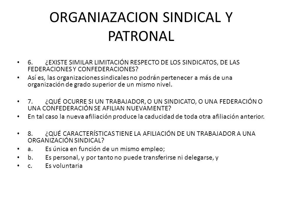 ORGANIAZACION SINDICAL Y PATRONAL