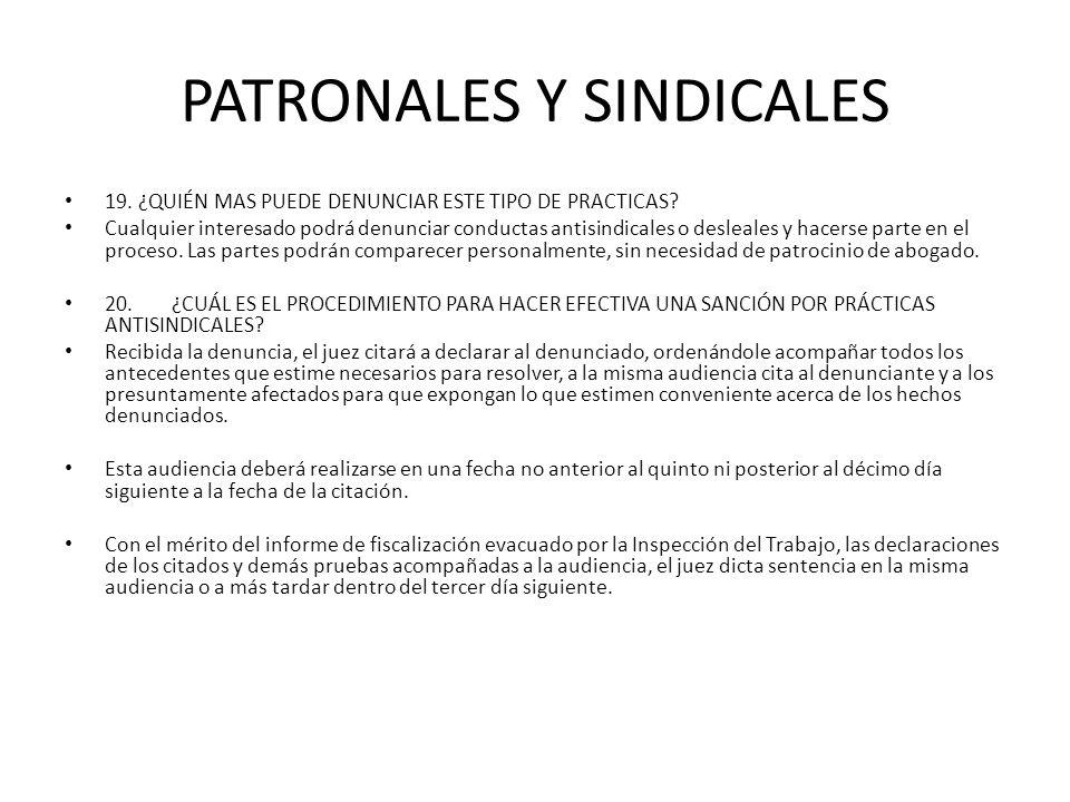 PATRONALES Y SINDICALES