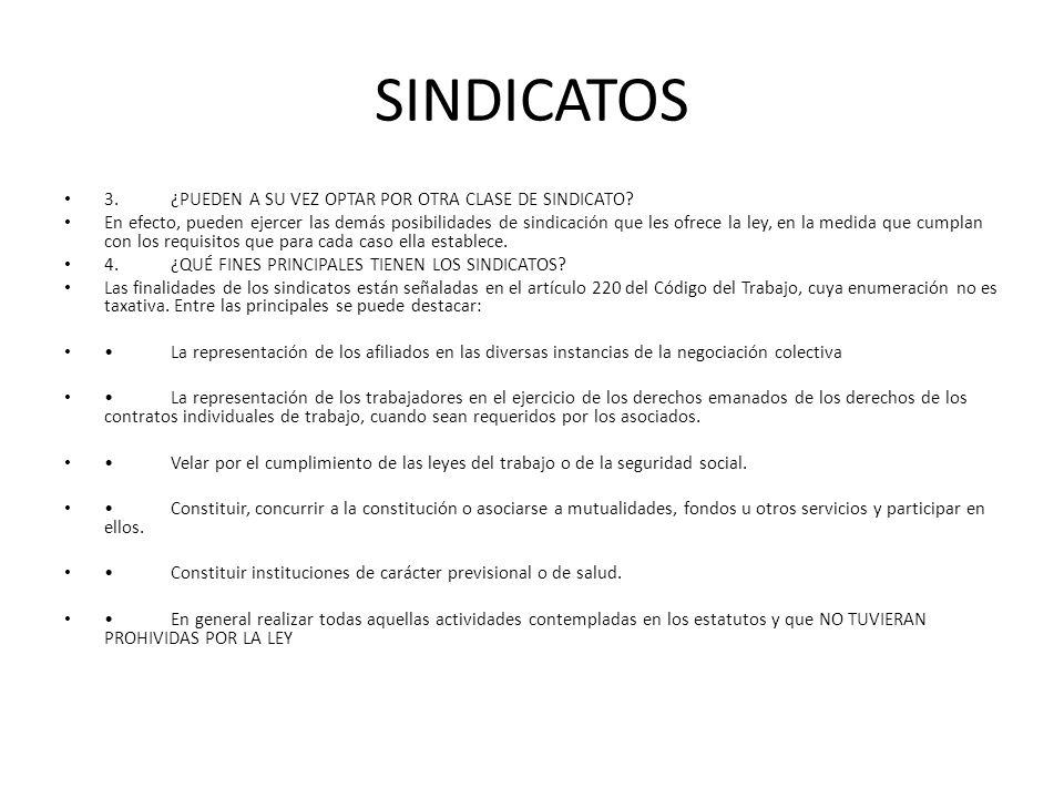 SINDICATOS 3. ¿PUEDEN A SU VEZ OPTAR POR OTRA CLASE DE SINDICATO