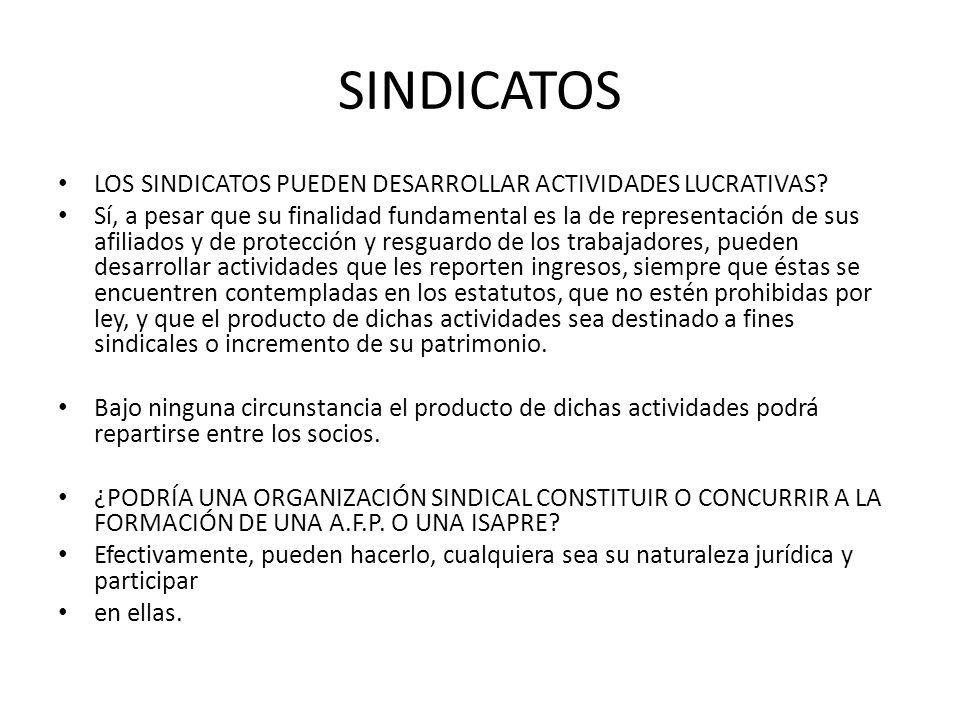 SINDICATOS LOS SINDICATOS PUEDEN DESARROLLAR ACTIVIDADES LUCRATIVAS