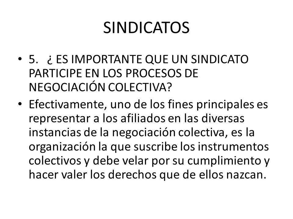 SINDICATOS 5. ¿ ES IMPORTANTE QUE UN SINDICATO PARTICIPE EN LOS PROCESOS DE NEGOCIACIÓN COLECTIVA