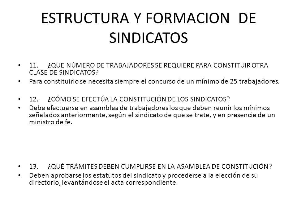 ESTRUCTURA Y FORMACION DE SINDICATOS