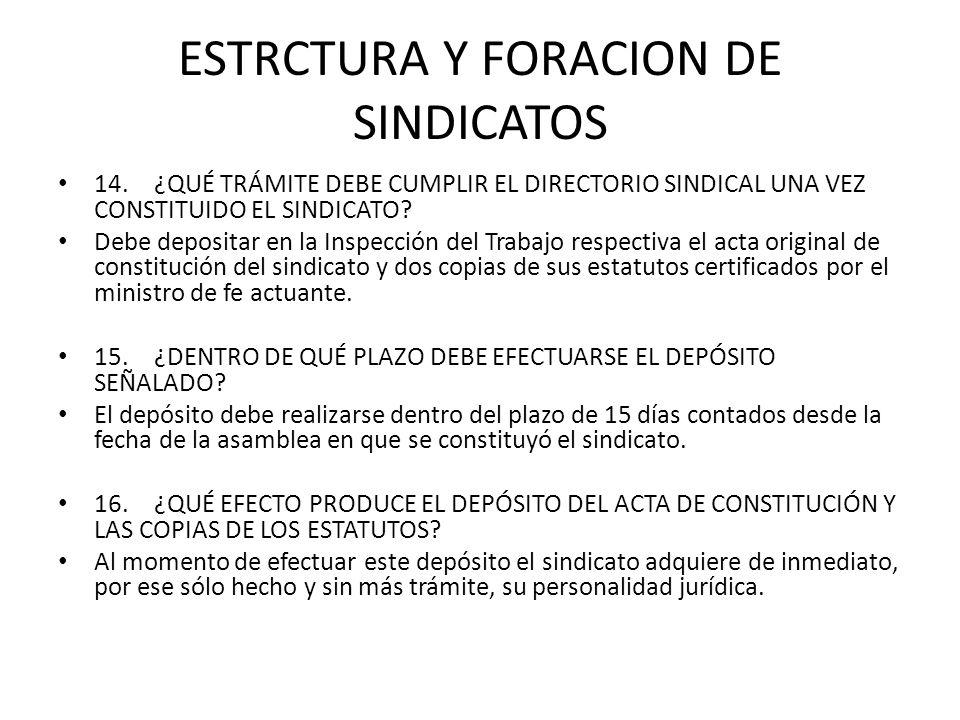 ESTRCTURA Y FORACION DE SINDICATOS