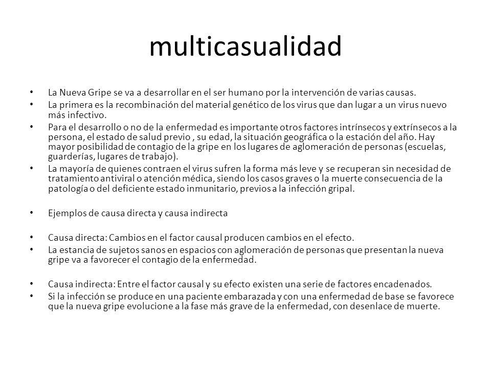 multicasualidadLa Nueva Gripe se va a desarrollar en el ser humano por la intervención de varias causas.