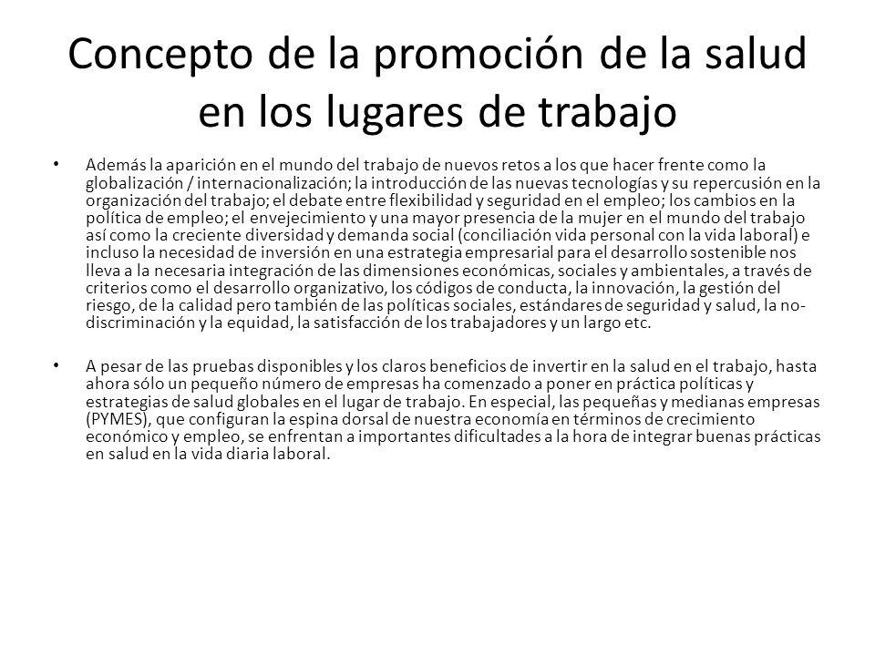 Concepto de la promoción de la salud en los lugares de trabajo