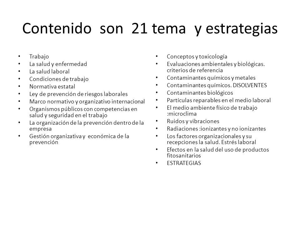Contenido son 21 tema y estrategias