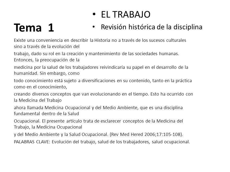 Tema 1 EL TRABAJO Revisión histórica de la disciplina