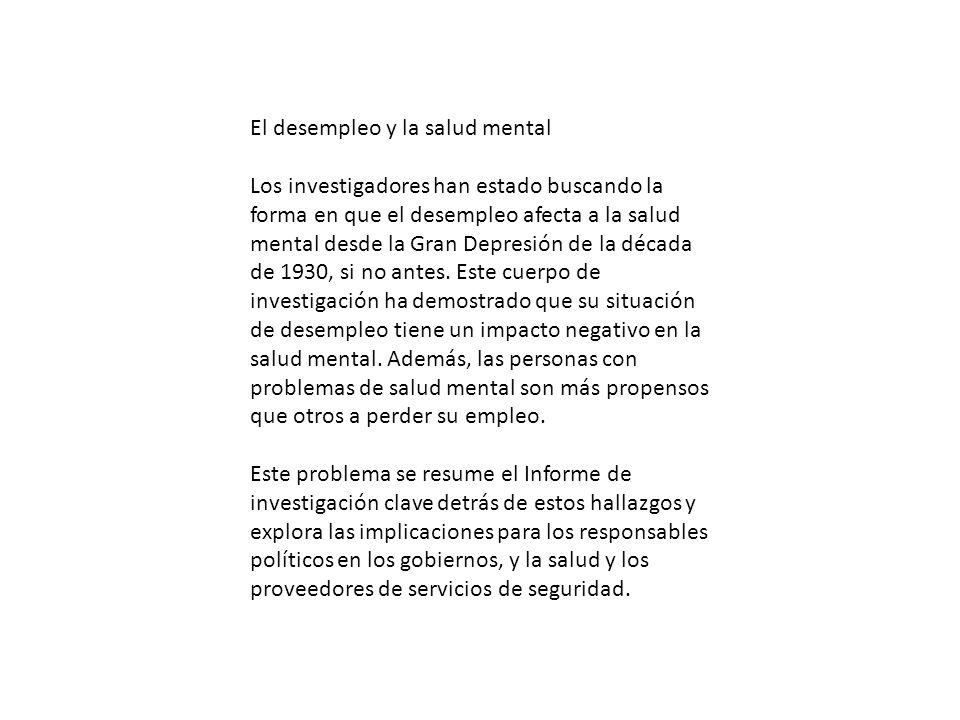 El desempleo y la salud mental