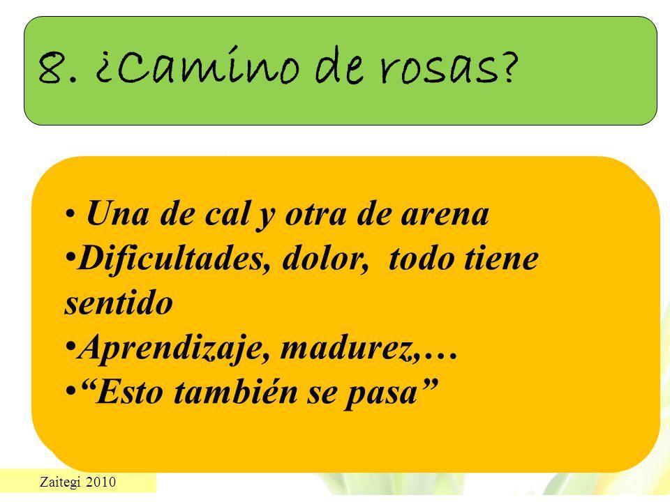 8. ¿Camino de rosas Dificultades, dolor, todo tiene sentido